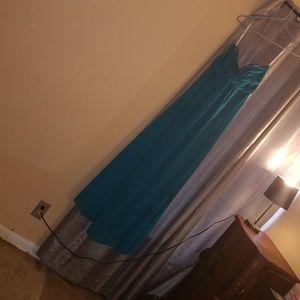 Blue bridesmaid dress David bridals