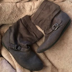 Dark Gray Suede Report Brand Buckle Booties