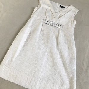 Just Taylor Petite White Texture Bead Accent Dress