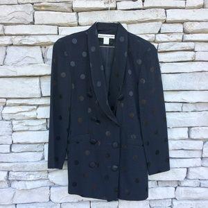 THE LIMITED Black Polka Dot Long Blazer Jacket