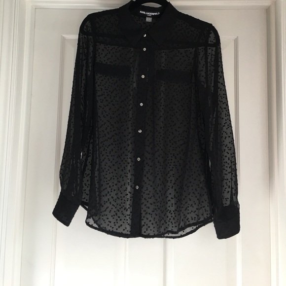 Karl Lagerfeld Tops - Black Chiffon Collared Long Sleeve Blouse