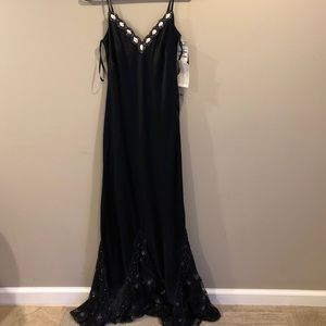 New Basix II Black Silk Evening Gown Sz 12