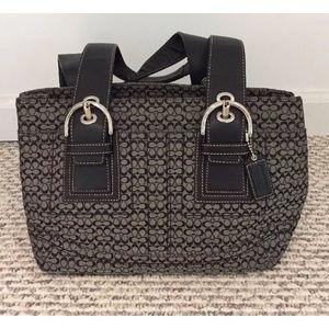 Coach grey black signature satchel