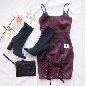 Runaway The Label Dresses - Wine Colored Faux Suede Mini Dress