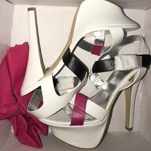 ShoeDazzle Vivi White/Pink/Black Heels Size 9.5