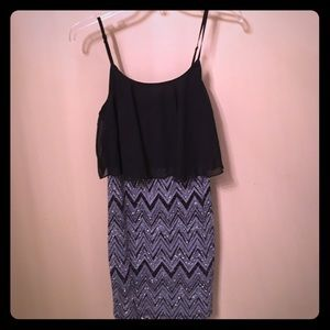 Sparkly, Silver and black Chevron short dress