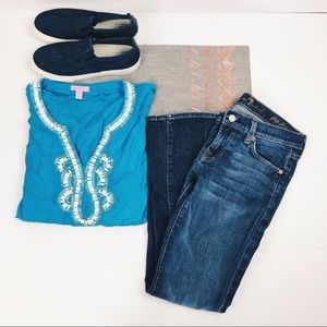 [Lilly Pulitzer]  blue short sleeve beaded blouse
