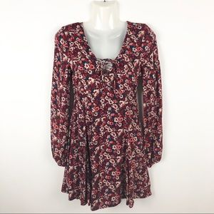 Hollister Floral Lace Up Swing Dress Womens XS