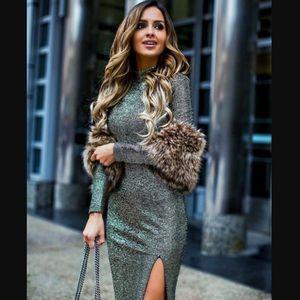 Topshop Gold Foil Midi Dress