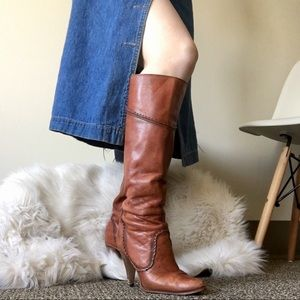 vintage 70s leather heeled boots