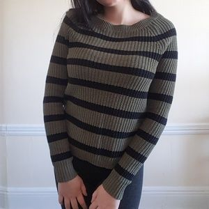Express Striped Olive Green Sweater XS