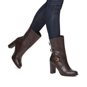 Brown Buckled Leather Moto Ema Mid Calf Boots