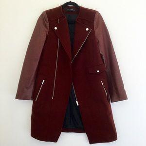 Zara Wool Oxblood Lambskin Leather Coat