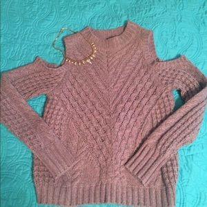 Adorable Express cold shoulder sweater.