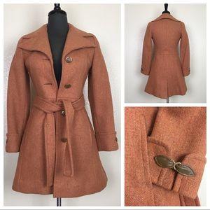 Vintage 70s Burnt Orange Wool Leather Trench Coat