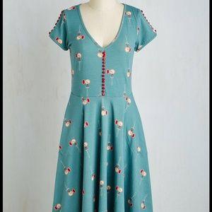 Modcloth Effie's Heart Pocket Watch Midi Dress