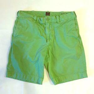 Men's J.Crew Green 100% Cotton Shorts size 32