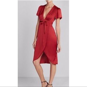 NWT Express silky plunge front wrap dress