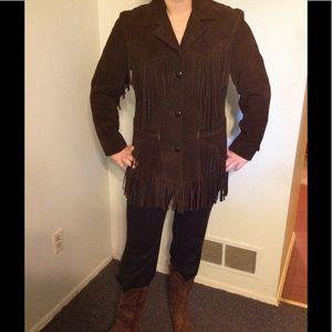 Vintage Pioneer Wear Fringe Leather Suede Jacket S
