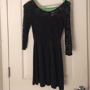 Navy blue lace top dress