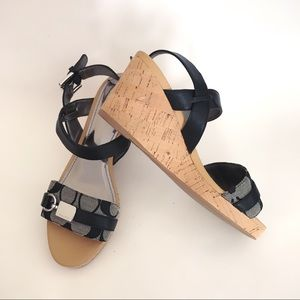 Brand new coach ankle strap wedges