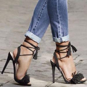 Black Suede Wraparound Strap Tayrey Fringe Heels