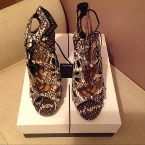 Dolce Vita Snake Print Lace Up Sandals, Size 8.5