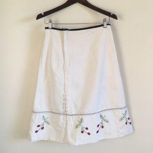 Anthropologie snak white embroidered skirt