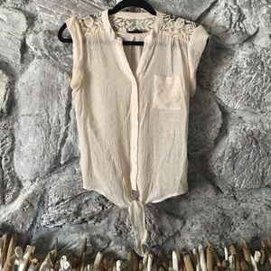 Tie front cream top with lace