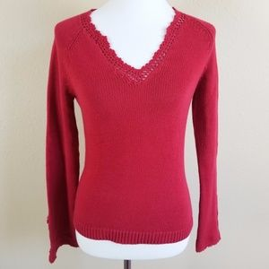 The Limited Knit V-Neck Sweater With Slit Sleeves