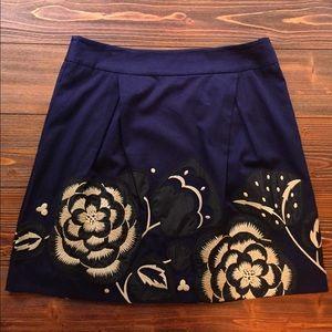 Anthropologie Floreat Navy Skirt Size 12