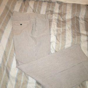 White and blue stripe seersucker pants