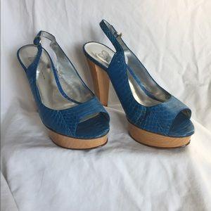 Jessica Simpson Turquoise peep toe platform heels