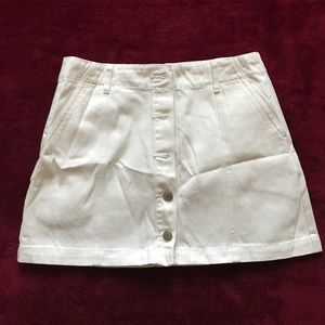 Button up white jean skirt