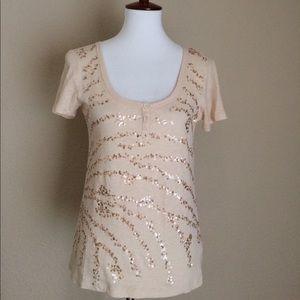 J. Crew Cream shirt sequin small sz