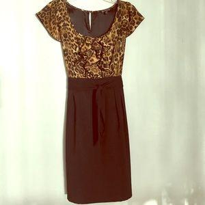 Animal Cheetah Leopard Ruffle Tuxedo Front Dress