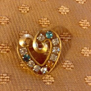 Jewelry - Gorgeous Vintage Heart Brooch Mother's Birthstones