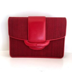 VINTAGE 70s leather red clutch made in italy