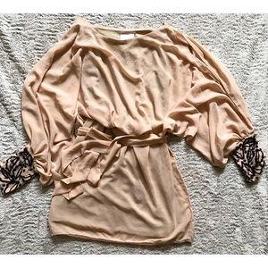 Blush Pale Pink Sequins Cold Shoulder Mini Dress
