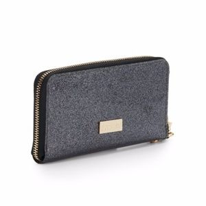 Deux Lux Charcoal Glossy Glitter Zip-Around Wallet