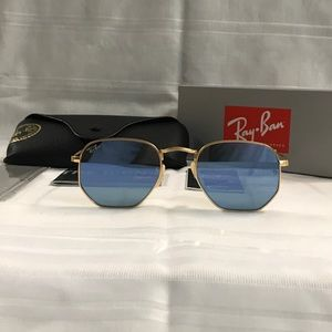 Rayban Hexagonal Grey Reflective Lens Sunglasses