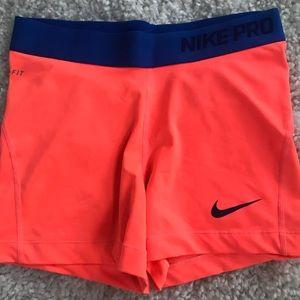 Nike Pro Neon Peach Spandex Shorts