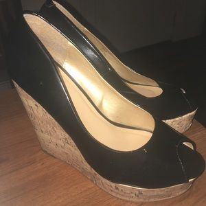 Shoedazzle Patent Black Wedge Heels