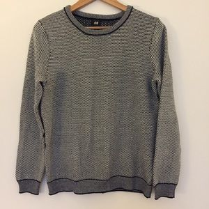 H&M black white Knit long sleeve crew sweater