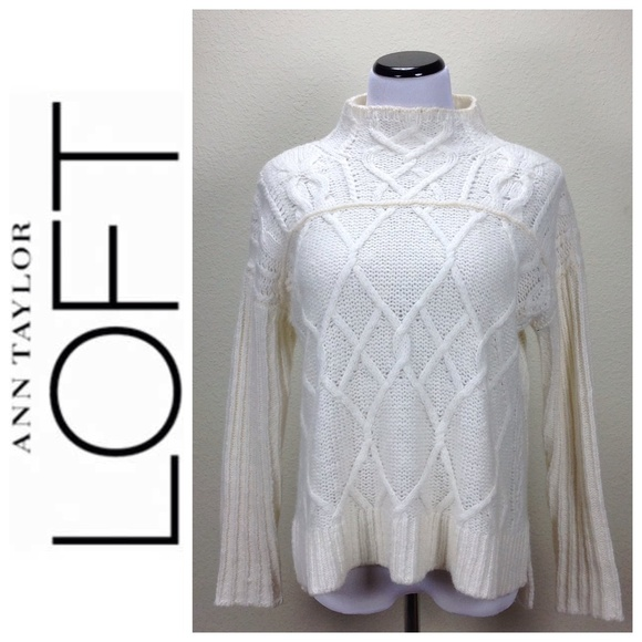 9ded0d1d770 LOFT Sweaters - Loft Cream Cable Knit High Neck Oversized Sweater