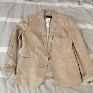 JCrew tan linen blazer