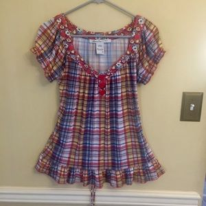 American Rag Blouse - Yellow Red Blue Plaid