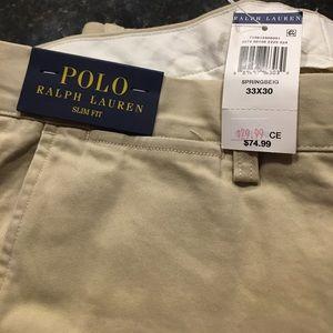 New Polo Ralph Lauren Khaki Pants Slim Fit - 33x30