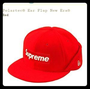 Supreme FW17 Bogo Box Logo Ear Flap Hat Red