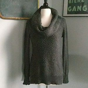 Long cowl neck sweater tunic length gray